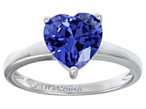 Bella Luce® 2.90ct Tanzanite Simulant Rhodium Over Silver Solitaire Ring