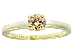 Bella Luce® .79ct Champagne Diamond Simulant 18k Gold Over Silver Ring