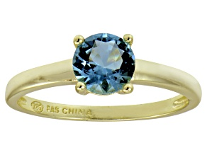 Blue Cubic Zirconia 18k Yellow Gold Over Silver Solitaire Ring 1.43ct