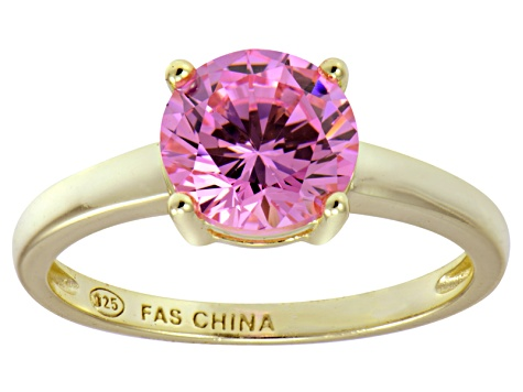 Bella Luce® 3.46ct Pink Diamond Simulant 18k Gold Over Silver Solitaire Ring