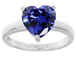 Bella Luce® 4.10ct Tanzanite Simulant Rhodium Over Silver Solitaire Ring