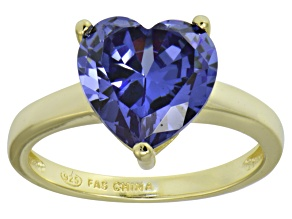 Bella Luce® 5.38ct Tanzanite Simulant 18k Gold Over Silver Solitaire Ring