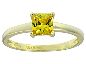 Bella Luce® 1.21ct Yellow Diamond Simulant 18k Gold Over Silver Solitaire Ring