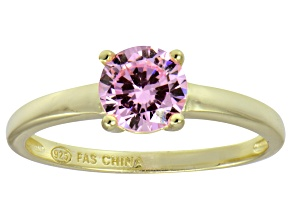 Bella Luce® 1.43ct Pink Diamond Simulant 18k Gold Over Silver Solitaire Ring