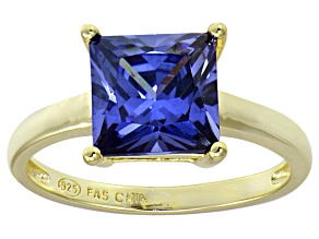 Bella Luce® 5.12ct Tanzanite Simulant 18k Gold Over Silver Solitaire Ring