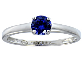 Bella Luce® .79ct Tanzanite Simulant Rhodium Over Silver Solitaire Ring