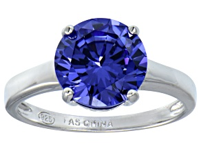 Bella Luce® 4.68ct Tanzanite Simulant Rhodium Over Silver Solitaire Ring