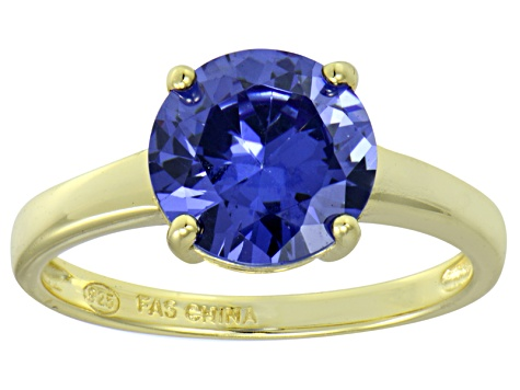 Bella Luce® 4.68ct Tanzanite Simulant 18k Gold Over Silver Solitaire Ring