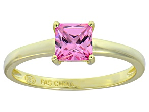 Bella Luce® 1.21ct Pink Diamond Simulant 18k Gold Over Silver Solitaire Ring