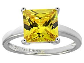 Bella Luce® 5.12ct Yellow Diamond Simulant Rhodium Over Silver Solitaire Ring