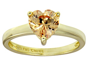 Bella Luce® 1.92ct Champagne Diamond Simulant 18k Gold Over Silver Ring