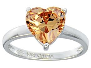 Bella Luce® 4.10ct Champagne Diamond Simulant Rhodium Over Silver Ring