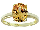 Bella Luce® 4.31ct Champagne Diamond Simulant 18k Gold Over Silver Ring