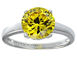 Bella Luce® 4.68ct Yellow Diamond Simulant Rhodium Over Silver Solitaire Ring