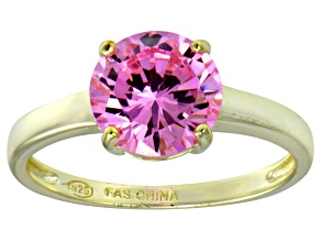 Bella Luce® 4.68ct Pink Diamond Simulant 18k Gold Over Silver Solitaire Ring