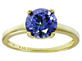 Bella Luce® 3.46ct Tanzanite Simulant 18k Gold Over Silver Solitaire Ring