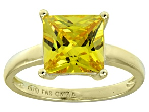 Bella Luce® 5.12ct Yellow Diamond Simulant 18k Gold Over Silver Solitaire Ring