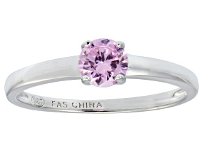 Pink Cubic Zirconia Rhodium Over Silver Solitaire Ring .79ct