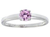 Bella Luce® .79ct Pink Diamond Simulant Rhodium Over Silver Solitaire Ring