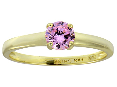 Bella Luce® .79ct Pink Diamond Simulant 18k Gold Over Silver Solitaire Ring