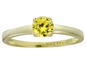 Bella Luce® .79ct Yellow Diamond Simulant 18k Gold Over Silver Solitaire Ring