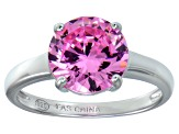 Bella Luce® 4.68ct Pink Diamond Simulant Rhodium Over Silver Solitaire Ring