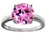 Bella Luce® 6.58ct Pink Diamond Simulant Rhodium Over Silver Solitaire Ring