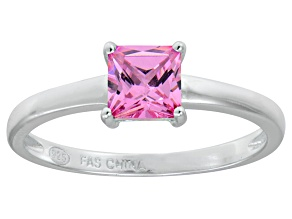Bella Luce® 1.21ct Pink Diamond Simulant Rhodium Over Silver Solitaire Ring
