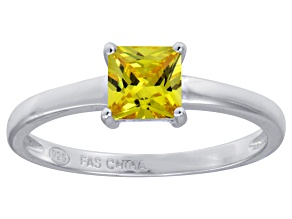 Bella Luce® 1.21ct Yellow Diamond Simulant Rhodium Over Silver Solitaire Ring