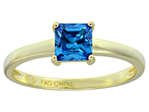 Blue Cubic Zirconia 18k Yellow Gold Over Silver Solitaire Ring 1.21ct