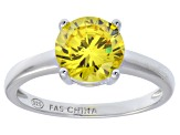 Bella Luce® 3.46ct Yellow Diamond Simulant Rhodium Over Silver Solitaire Ring