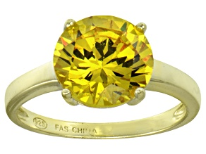Bella Luce® 6.58ct Yellow Diamond Simulant 18k Gold Over Silver Solitaire Ring