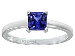 Bella Luce® 1.21ct Tanzanite Simulant Rhodium Over Silver Solitaire Ring