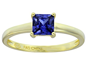 Bella Luce® 1.21ct Tanzanite Simulant 18k Gold Over Silver Solitaire Ring