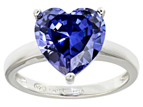 Bella Luce® 5.38ct Tanzanite Simulant Rhodium Over Silver Solitaire Ring
