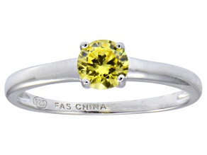 Bella Luce® .79ct Yellow Diamond Simulant Rhodium Over Silver Solitaire Ring