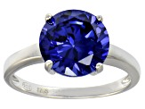 Bella Luce® 6.58ct Tanzanite Simulant Rhodium Over Silver Solitaire Ring