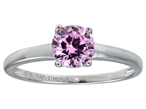 Bella Luce® 1.43ct Pink Diamond Simulant Rhodium Over Silver Solitaire Ring