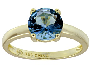 Bella Luce® 3.46ct Apatite Simulant 18k Yellow Gold Over Silver Solitaire Ring