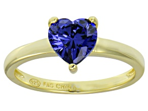 Bella Luce® 1.92ct Tanzanite Simulant 18k Gold Over Silver Solitaire Ring