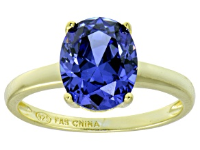 Bella Luce® 4.31ct Tanzanite Simulant 18k Gold Over Silver Solitaire Ring