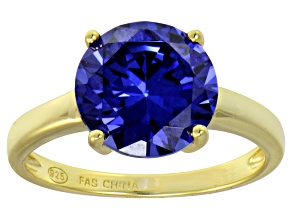 Bella Luce® 6.58ct Tanzanite Simulant 18k Gold Over Silver Solitaire Ring