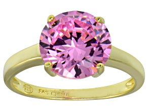 Bella Luce® 6.58ct Pink Diamond Simulant 18k Gold Over Silver Solitaire Ring