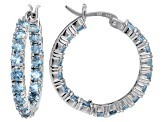 Bella Luce ® 6.48ctw Blue Diamond Simulant Rhodium Over Silver Hoop Earrings
