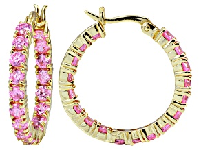 Bella Luce ® 6.48ctw Pink Diamond Simulant 18k Gold Over Silver Hoop Earrings
