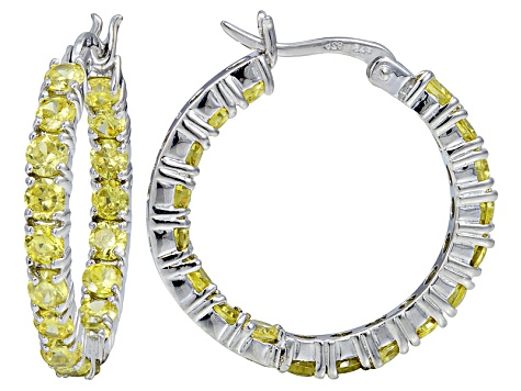 Bella Luce ® 6.48ctw Yellow Diamond Simulant Rhodium Over Silver Hoop Earrings