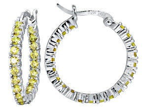 Bella Luce ® 2.52ctw Yellow Diamond Simulant Rhodium Over Silver Hoop Earrings