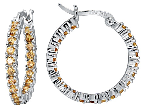 Bella Luce® 2.52ctw Champagne Diamond Simulant Rhodium Over Silver Hoop Earrings
