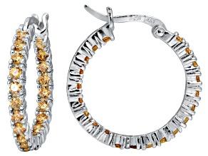 Bella Luce® 2.52ctw Champagne Diamond Simulant Rhodium Over Silver Hoop Earrings