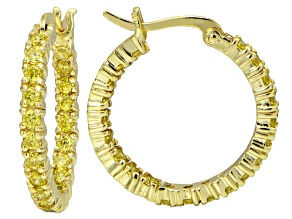 Bella Luce ® 2.52ctw Yellow Diamond Simulant 18k Gold Over Silver Hoop Earrings